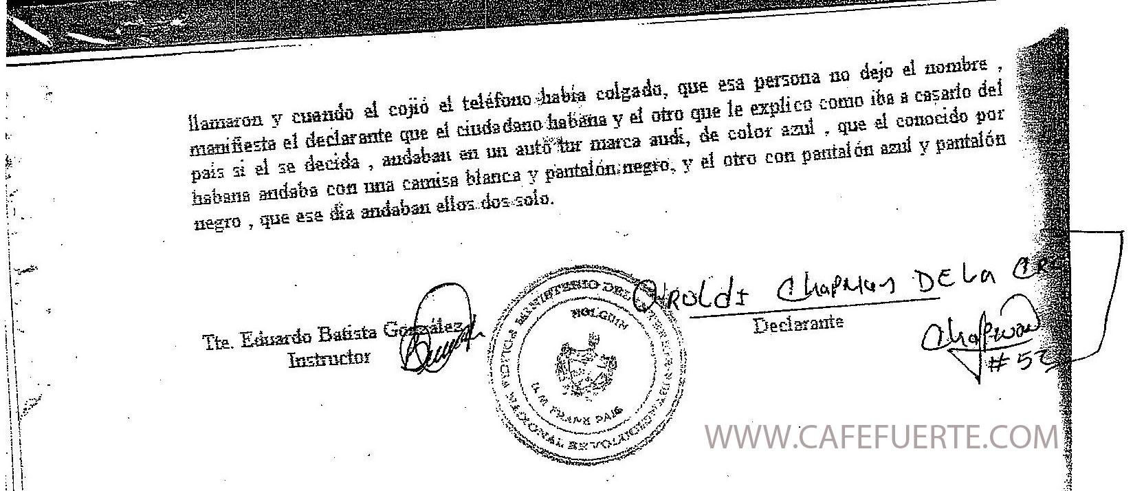 Fragmento de declaración de Aroldis Chapman en el juicio contra Danilo Curbelo