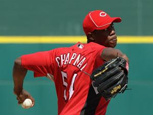 Aroldis Chapman, envuelto en una gran campaña con los Rojos del Cincinnati.