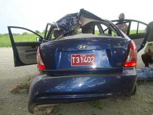 Foto del auto accidentado en que viajaba Oswaldo Payá Sardiñas, líder del MCL
