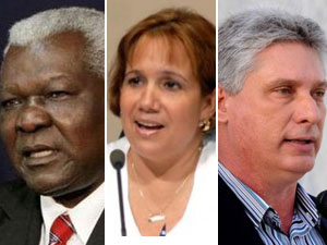 Esteban Lazo (izq.), Ana María Mari Machado y Miguel Díaz Canel, candidatos de peso para la presidencia de la ANPP.